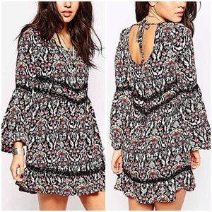 Band of Gypsies Floral Bell Sleeve Mini Dress